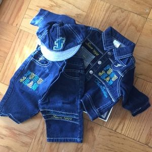 Three piece 0-9 months Fubu Collection outfit